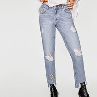 EMBROIDERED BEJEWELLED JEANSDETAILS