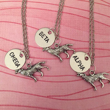Alpha, Beta, Omega Wolf Necklaces - Best Friend Necklaces - Wolf Jewelry - Handstamped Jewelry - Teen Wolf Jewelry