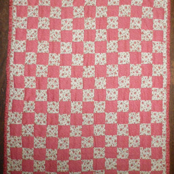 """Patchwork Quilt for Baby Dolls, 18 Inch American Girl Doll Quilt, 24 1/2"""" x 20"""""""