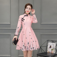 Fashion Stand collar button print A word skirt improved cheongsam