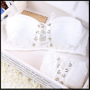Intimates Japanese super Sexy bra push up white and black Princess straps belt lace women  bra sets 2015 New Arrival Hot Brand