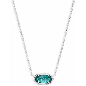 Kendra Scott: Elisa Silver Pendant Necklace In London Blue
