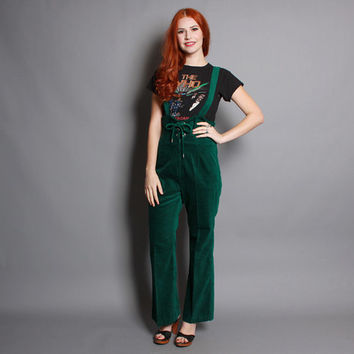 70s Boho GREEN OVERALLS / Corset Lace Up Bell Bottom Jumpsuit, xs