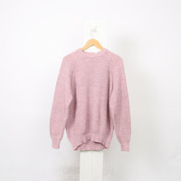 Baby PINK Grey Pull Over Acrylic Knit 80s Vintage Sweater 90s Jumper Womens L Large Oversized Winter Knitwear Tunic