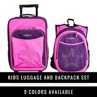 Obersee Kids Luggage and Backpack Set with Integrated Snack Lunch Box Cooler