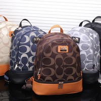 coach fashion casual unisex logo print multicolor backpack couple travel large capacity double shoulder bag
