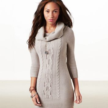 AEO Women's Cowl Neck Sweater Dress