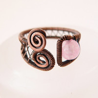 Adjustable rose quartz ring, antique copper wire wrapped ring, rustic handmade jewelry with stone bead