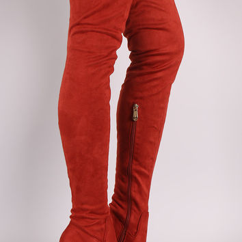 Suede Chunky Heeled Over-The-Knee Boots