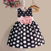 Christmas Super Flower girls dresses for party and wedding Dot print Princess Kids Dress Fashion Children's Clothing