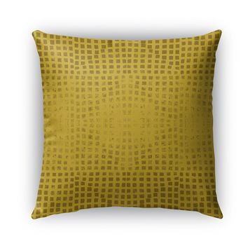 GODS EYE BLOCK PRINT MUSTARD  Indoor|Outdoor Pillow By Becky Bailey