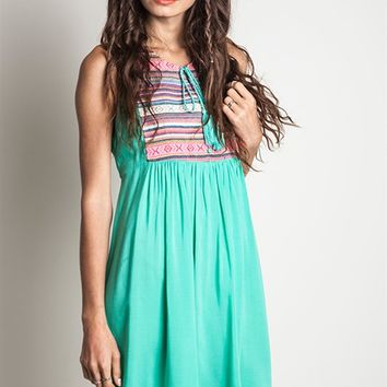 Umgee Sleeveless Mint Tribal Printed Peasant Dress
