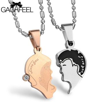GAGAFEEL Vintage Stainless Steel Necklace Figure Pendant Fine Jewelry For Men Women Couples Crystal Natural Stone Love Gifts