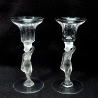 2 French Bayel Crystal Bacchante Candlesticks Candle holders Frosted Nude Stem