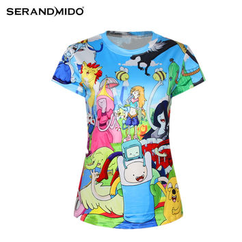 2016 New Women Adventure Time Print T shirt O-neck 3D Digital Print tops & tees camisetas femininas SM6T005
