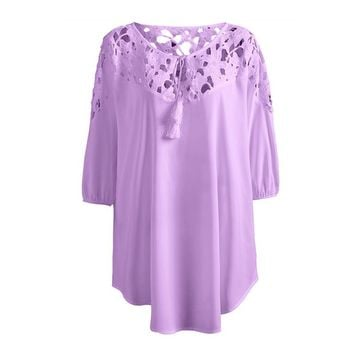 New Spring Women Sexy O Neck Hollow Lace Crochet Shirt Half Sleeve Casual Sexy Floral Tunic Top Plus Size blusas femininas