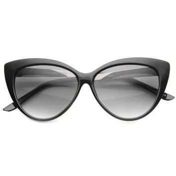 Women's Retro Oversize Cat Eye Sunglasses With Metal Temples 9795