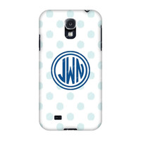 Samsung Galaxy cases, Samsung Galaxy s4 case, Galaxy s4 case, Monogrammed Samsung S4 case Light Blue Dots, Monogrammed samsung cases