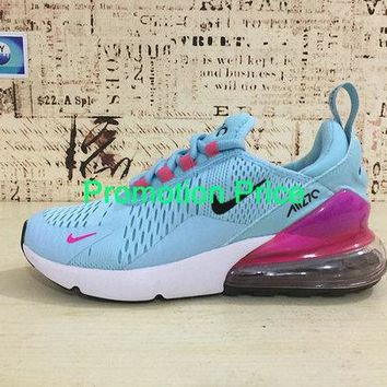 2018 Real Nike Air Max 270 Running Shoes Flyknit Blue Pink 2018 Latest Styles AH8050-600 newest sneaker