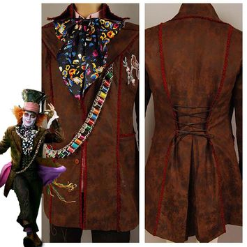 Johnny Depp as Mad Hatter Outfit Alice In Wonderland Jacket Pants Tie Costume for Christmas Halloween Carnival Adult Men Sets