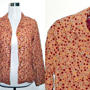 Back to School Sale: salmon polka dots fine corduroy jacket (small)