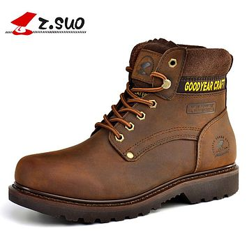 High Quility Cow Leather Outdoor Men Boots Autumn Winter Keep warm Tooling Boots Man botas hombre Outdoor Boots