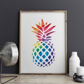 Pineapple Art Print Painting Geometric Decorative Nursery Pineapple Picture Home Decor Children Gift Art Picture Wall Art Z160