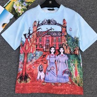 """Gucci Unskilled Worker"" Fashion Casual Cartoon Castle Portrait Girl Print Short Sleeve Thickened Cotton T-shirt Women Tops G"