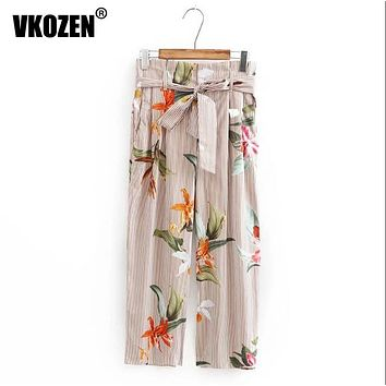 Women Floral Pattern Wide legging Ankle-length Pants Bow Tied Loose Trousers With Belt YN-4661