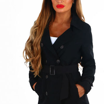 Wall Street Black Button Up Belted Jacket