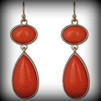 KIRKS FOLLY Summer Nights Earrings in Gold/Coral