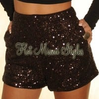 Chocolate Brown Sequined Shorts