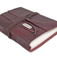 Burgundy Leather Journal with Peace Charm Bookmark