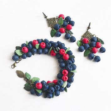 Siberian berry Polymer clay jewelry Bracelet Earrings Stud Blue Red Berries Handmade jewelry blueberries Set Polymer clay bracelet