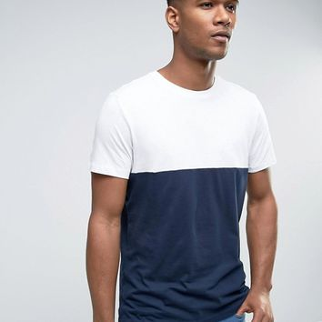 New Look Color Block T-Shirt In Navy at asos.com