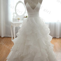 Fashion 2014 spring wedding dress Strapless sleeveless floor-length organza tiered big discount,cheapest