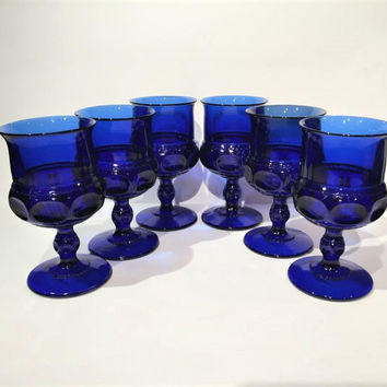 Kings Crown Large Cobalt Blue Water Goblets Set of 6 Wine Glasses, Mid Century King's Crown Indiana Blue Glass Thumbprint Goblets
