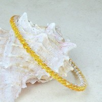 Crystal Bangle Bracelet Swarovski Sunflower Yellow Silver Handcrafted