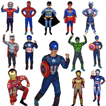 Cool Super Hero Avengers Clothes Jumpsuit Captain America Superman Batman Hulk IronMan Thor Muscle Cosplay Costumes Halloween GiftAT_93_12