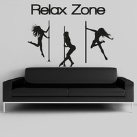 Wall Decal Vinyl Sticker Decals Art Decor Design Sign Relax Zone Pin Up Girl stripteaser Strip Erotic Sexy Gift Boys Mans Dorm Bedroom(r999)