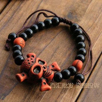 DKF4S Bracelets and bracelet pirate skull beads bracelet for men and women lovers Halloween decoration gifts