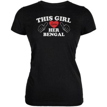 MDIGCY8 Valentines This Girl Loves Her Bengal Black Juniors Soft T-Shirt