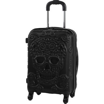 "IT Luggage 4 Wheel Hardside Expandable Spinner with Skull Emboss 22"" Carry On - eBags.com"