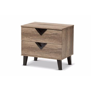 Swanson Modern and Contemporary Light Brown Wood 2-Drawer Nightstand By Baxton Studio