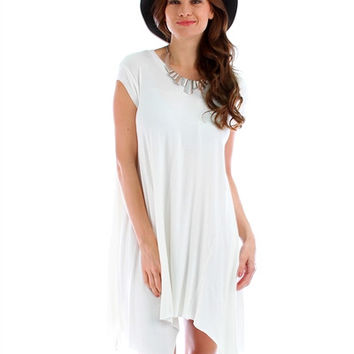 Lost Reverie Oversized T-Shirt Dress: White