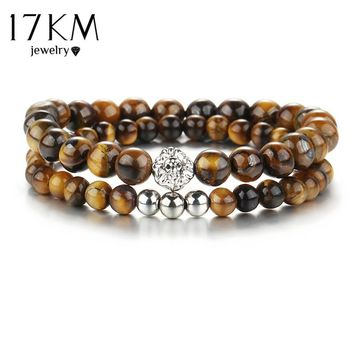 17KM Ethnic Jewelry Lion Head Beads Bracelet For Men Fashion Stone Bracelet Women yoga Fitness Energy Yoga Bracelets 2pcs/set