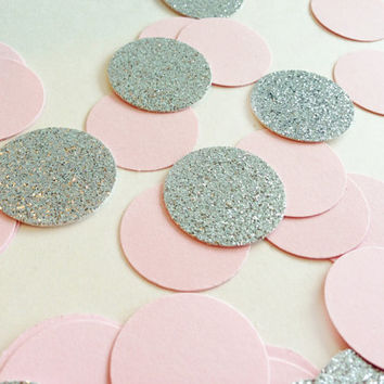 "100 Silver Glitter + Light Pink Circle Confetti - 1"" - Confetti for weddings, birthdays, parties!"