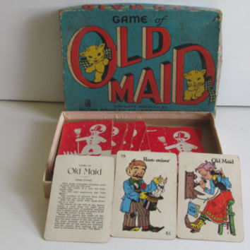1936 Old Maid Card Game Milton Bradley 30s toys Antique card Game Old Maid MCMXXXVI