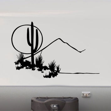 RV Camper Vinyl Decal Sticker Graphic Cactus Desert Scene Custom Text
