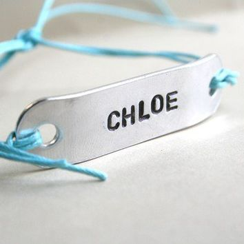 Friendship Bracelet Custom Hand Stamped Jewelry WIDE Name Tie On Set of 2 BFF Personalized for You